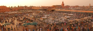 A busy and dusty market in Marrakech